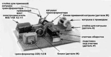 Прибор для намотки трансформаторных катушек служит мне более 20 лет.  Он собран на фанерном листе размером 300x400 мм.
