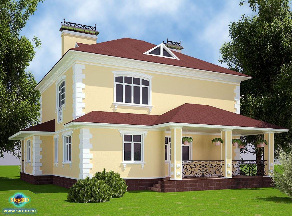 Дизайн фасадов коттеджей с