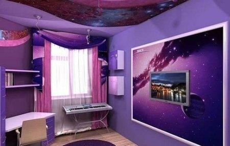 Интерьер, выполненный в фиолетовом цвете