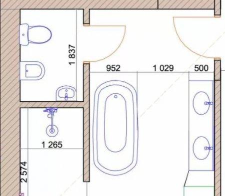 Планировка ванной, санузла, моечной и других санитарных узлов